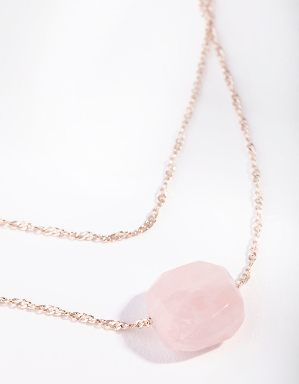 Rose Gold Double Chain Rose Quartz Necklace