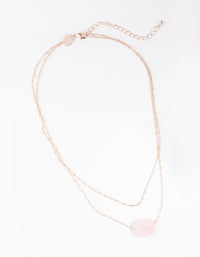 Rose Gold Double Chain Rose Quartz Necklace - link has visual effect only