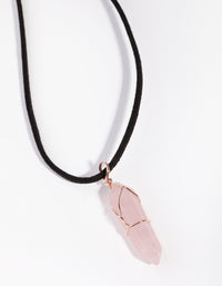 Rose Gold Wire Wrap Rose Quartz Necklace - link has visual effect only