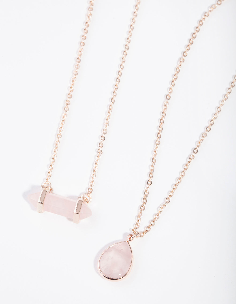 Rose Gold Double Layered Rose Quartz Necklace