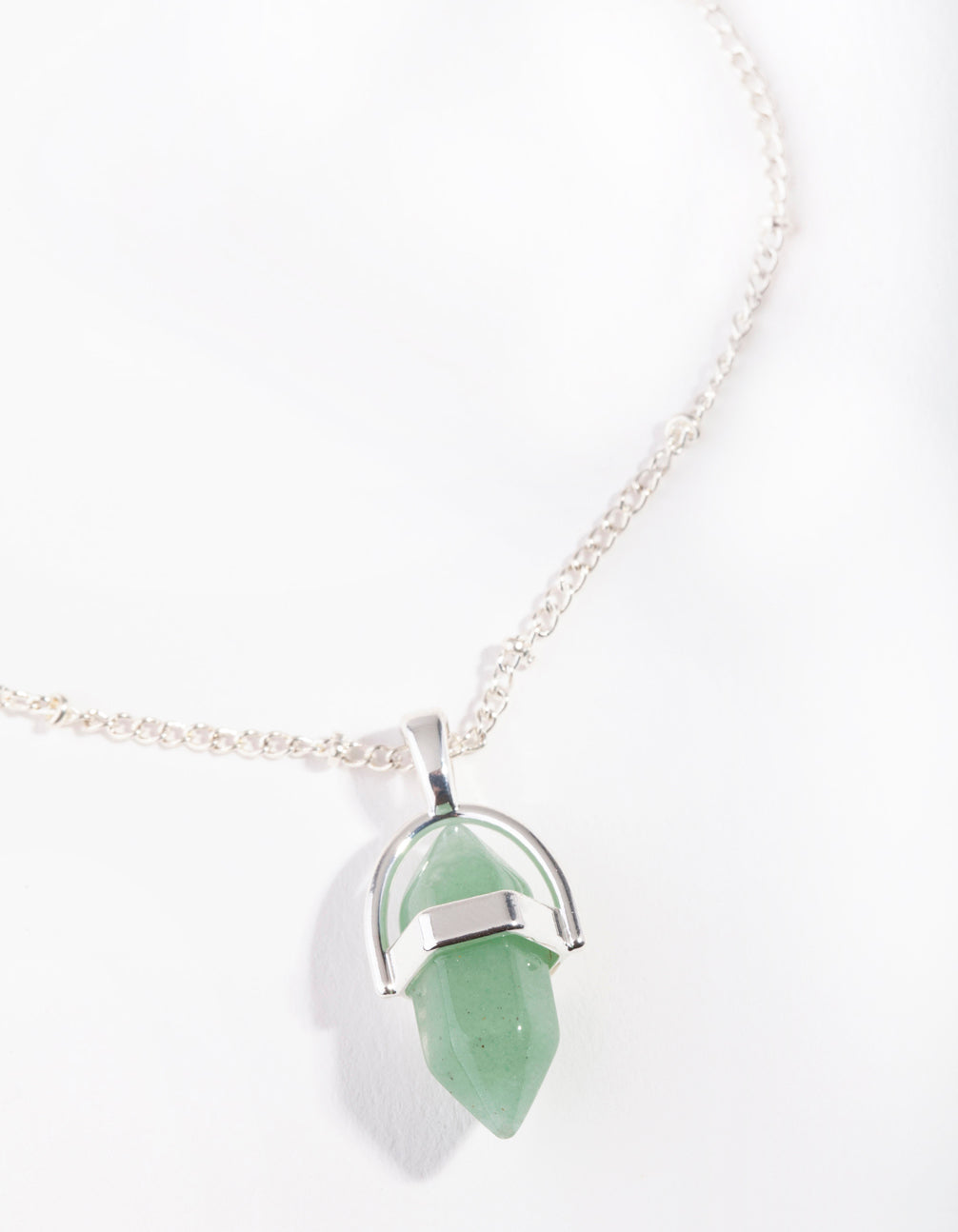 Silver Small Shard Jade Stone Necklace