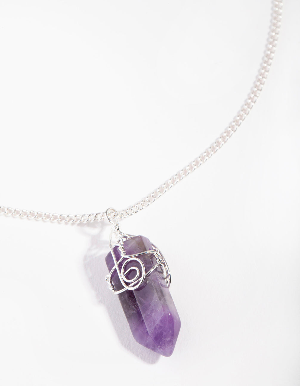 Silver Curled Amethyst Stone Necklace