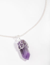 Silver Curled Amethyst Stone Necklace - link has visual effect only