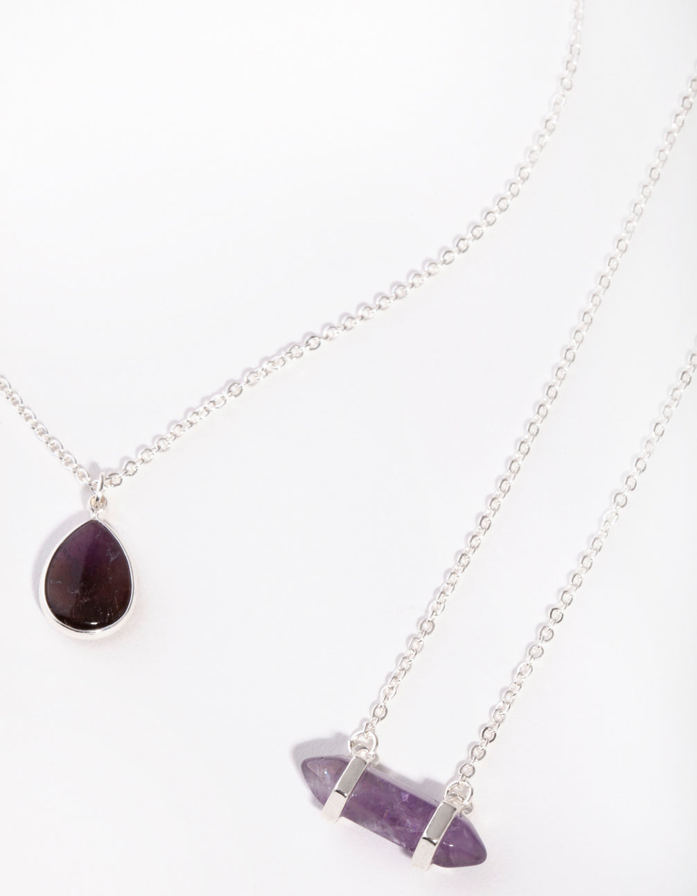 Silver Double Layered Amethyst Necklace
