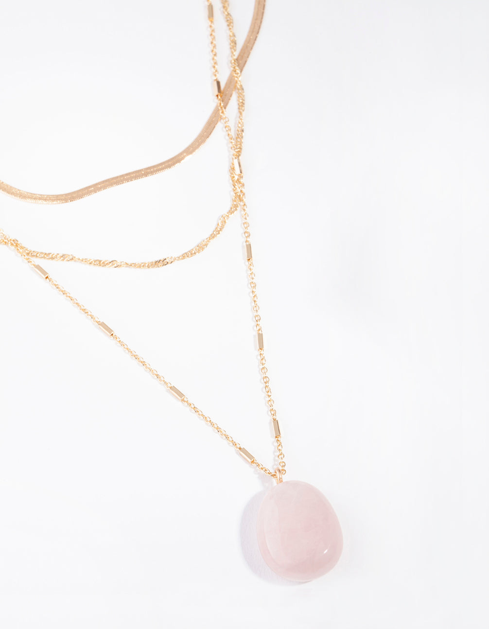 Gold Flat Chain Rose Quartz Stone Layered Necklace