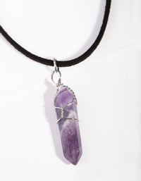Rhodium Wire Wrap Amethyst Stone Necklace - link has visual effect only