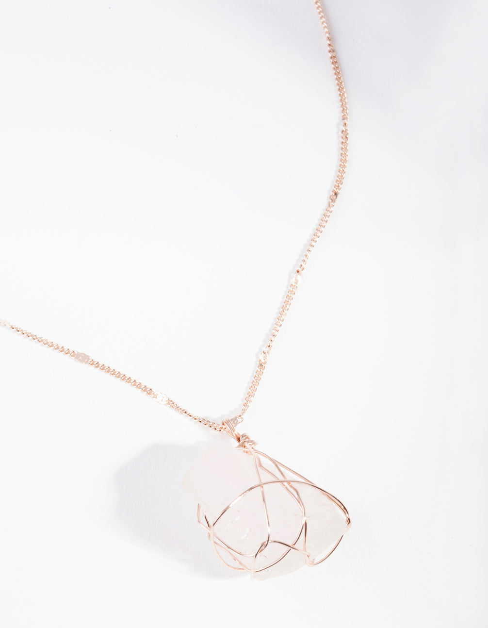 Rose Gold Wire Wrapped Rose Quartz Necklace