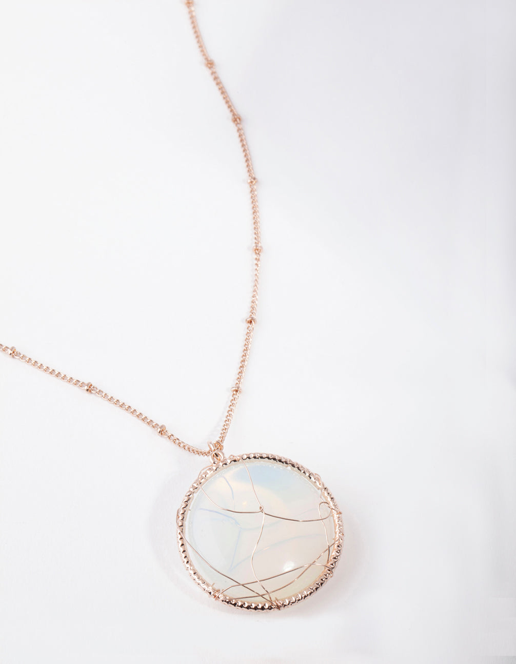 Rose Gold Long Caged Moonstone Necklace