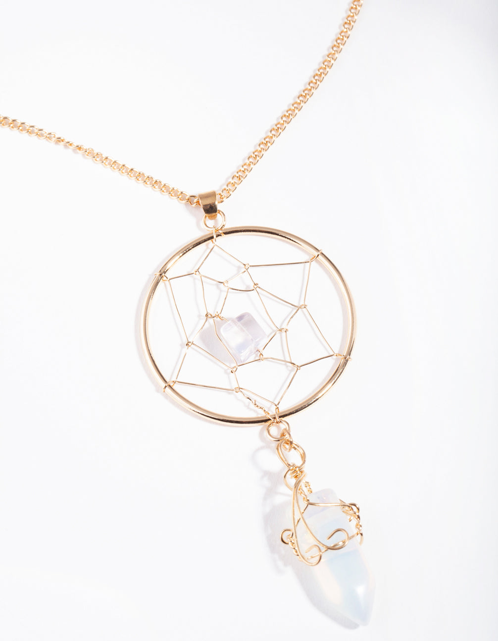 Gold Moonstone Dreamcatcher Necklace