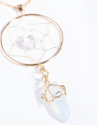 Gold Moonstone Dreamcatcher Necklace - link has visual effect only