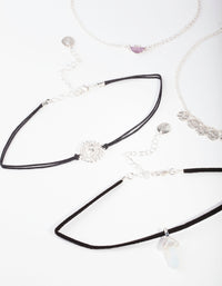 Silver Amethyst Chain Choker 4 Pack - link has visual effect only