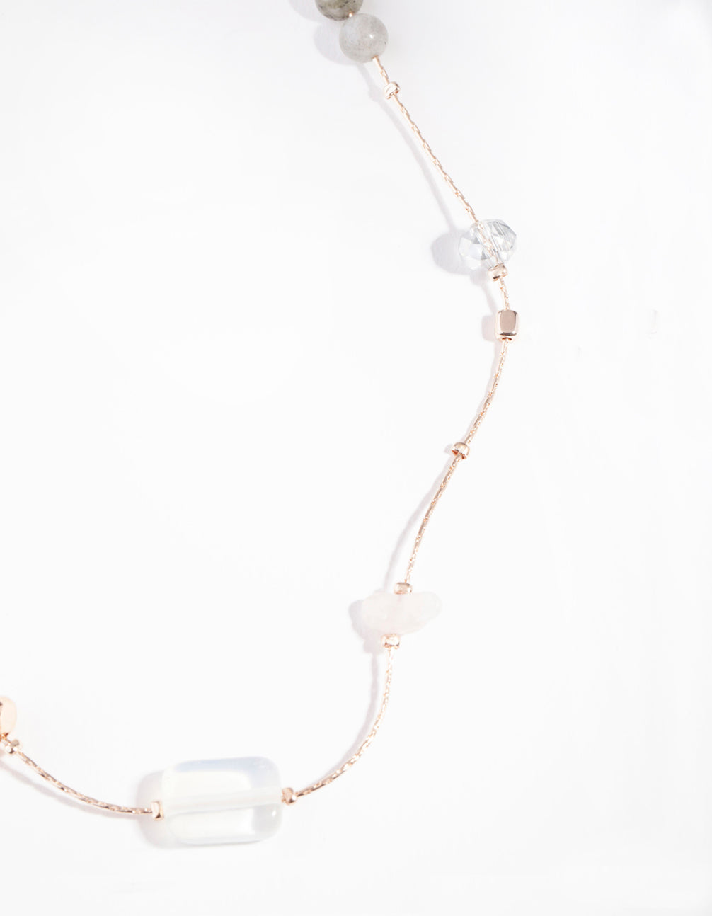 Rose Gold Mixed Rose Quartz Long Semi-Precious Necklace