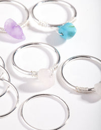 Silver Rose Quartz, Turquoise, Amethyst Fine Multi Ring Pack - link has visual effect only