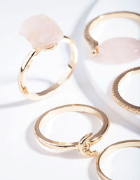 Gold Rose Quartz Moon Wrap Ring Stack - link has visual effect only