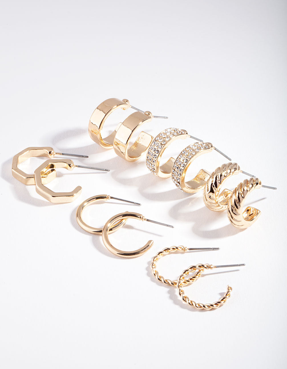 Gold Textured and Diamante Hoop Earring 6 Pack