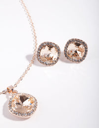 Rose Gold Silk Square Earring and Necklace Set - link has visual effect only