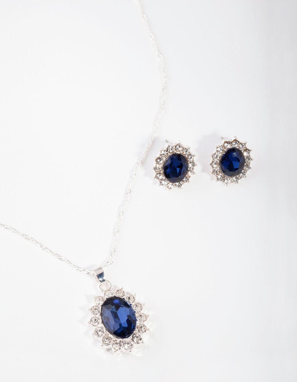 Silver Oval Blue Gem Jewellery Set