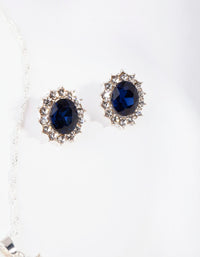Silver Oval Blue Gem Jewellery Set - link has visual effect only