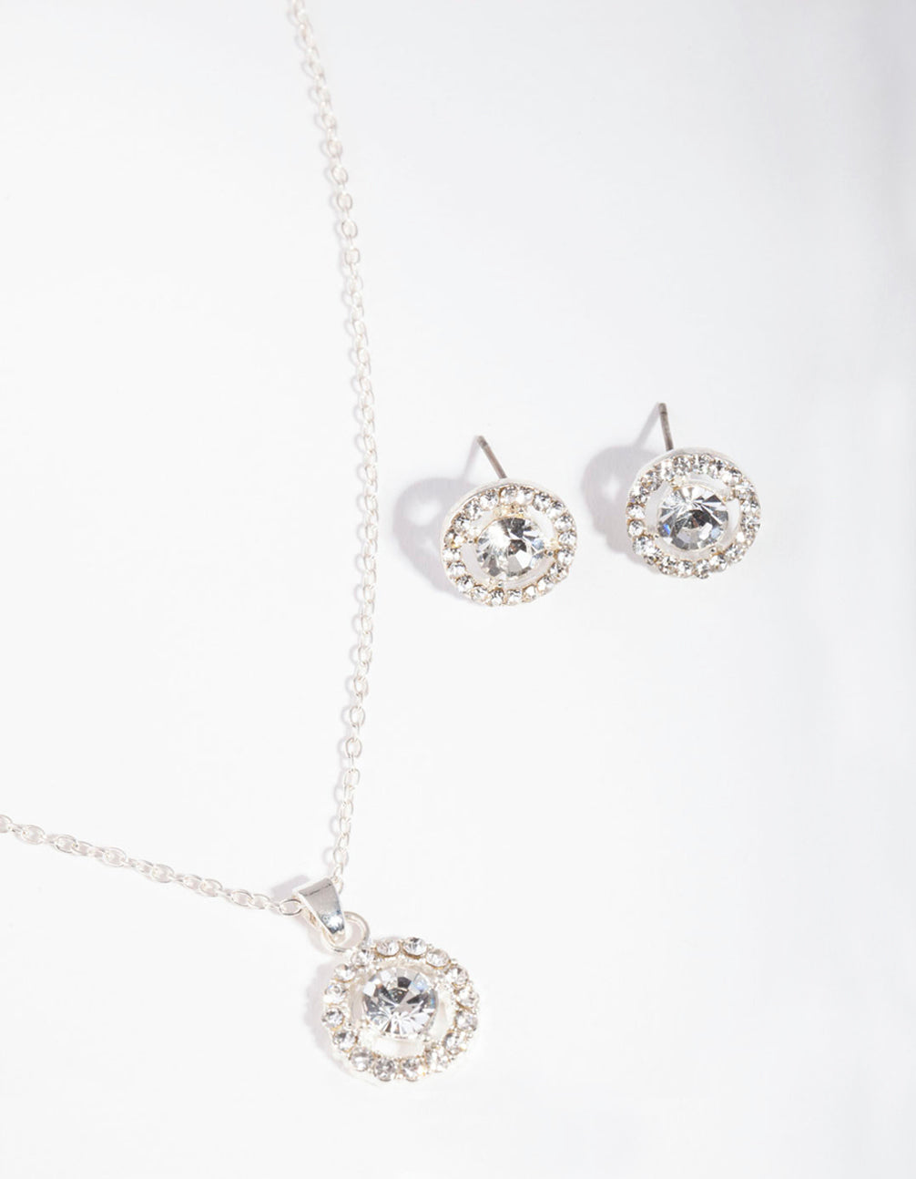 Silver Crystal Halo Jewellery Set