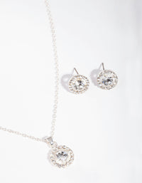 Silver Crystal Halo Jewellery Set - link has visual effect only