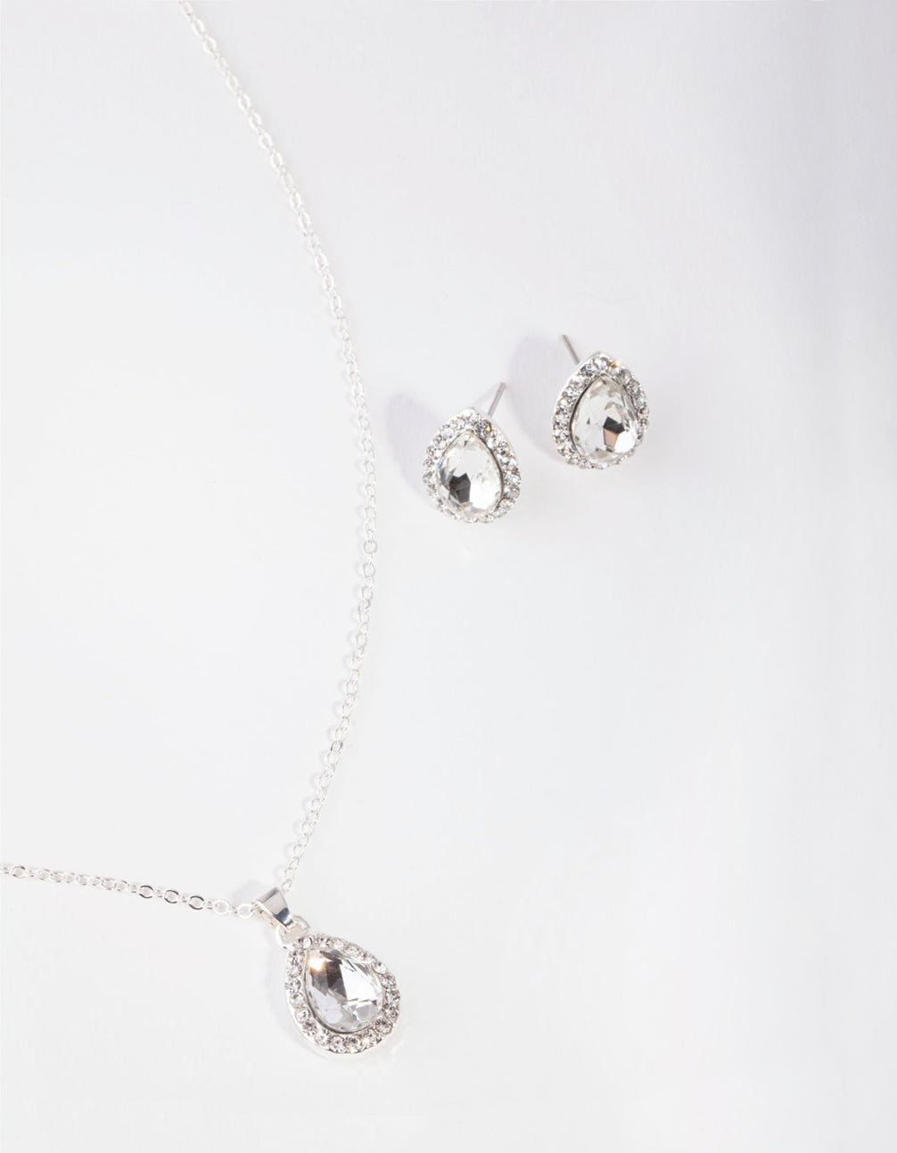 Silver Pear Crystal Jewellery Set