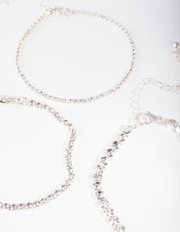 Silver Multi Size Diamante Bracelet 3 Pack - link has visual effect only