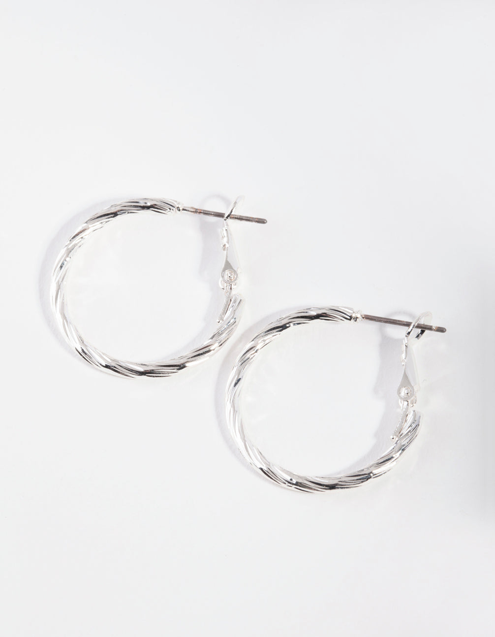 Silver Small Texture Wrapped Hoop Earrings