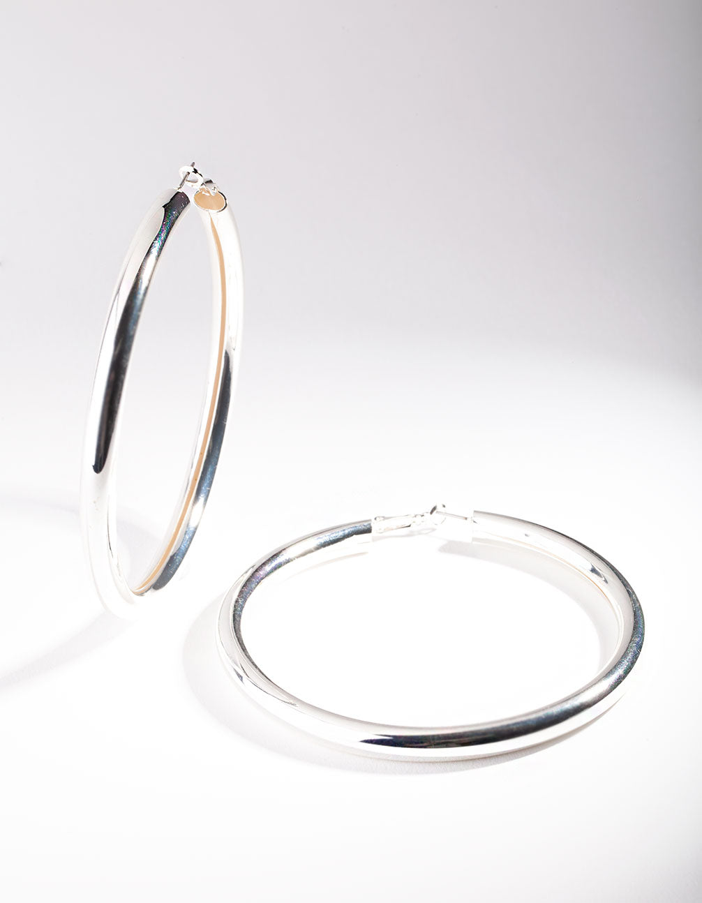 Silver Oversized Polished Hoop Earring
