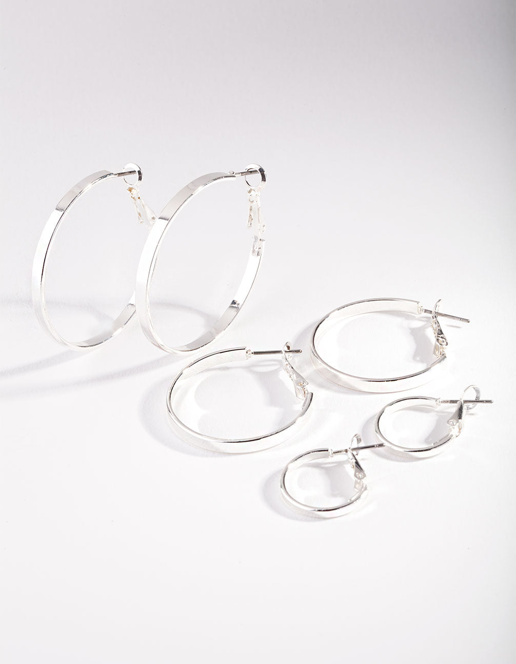 Silver Polished Triple Hoop Earring Pack