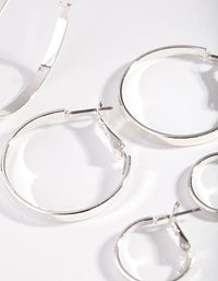 Silver Polished Triple Hoop Earring Pack - link has visual effect only