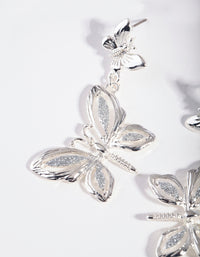 Silver Glitter Butterfly Drop Earring - link has visual effect only