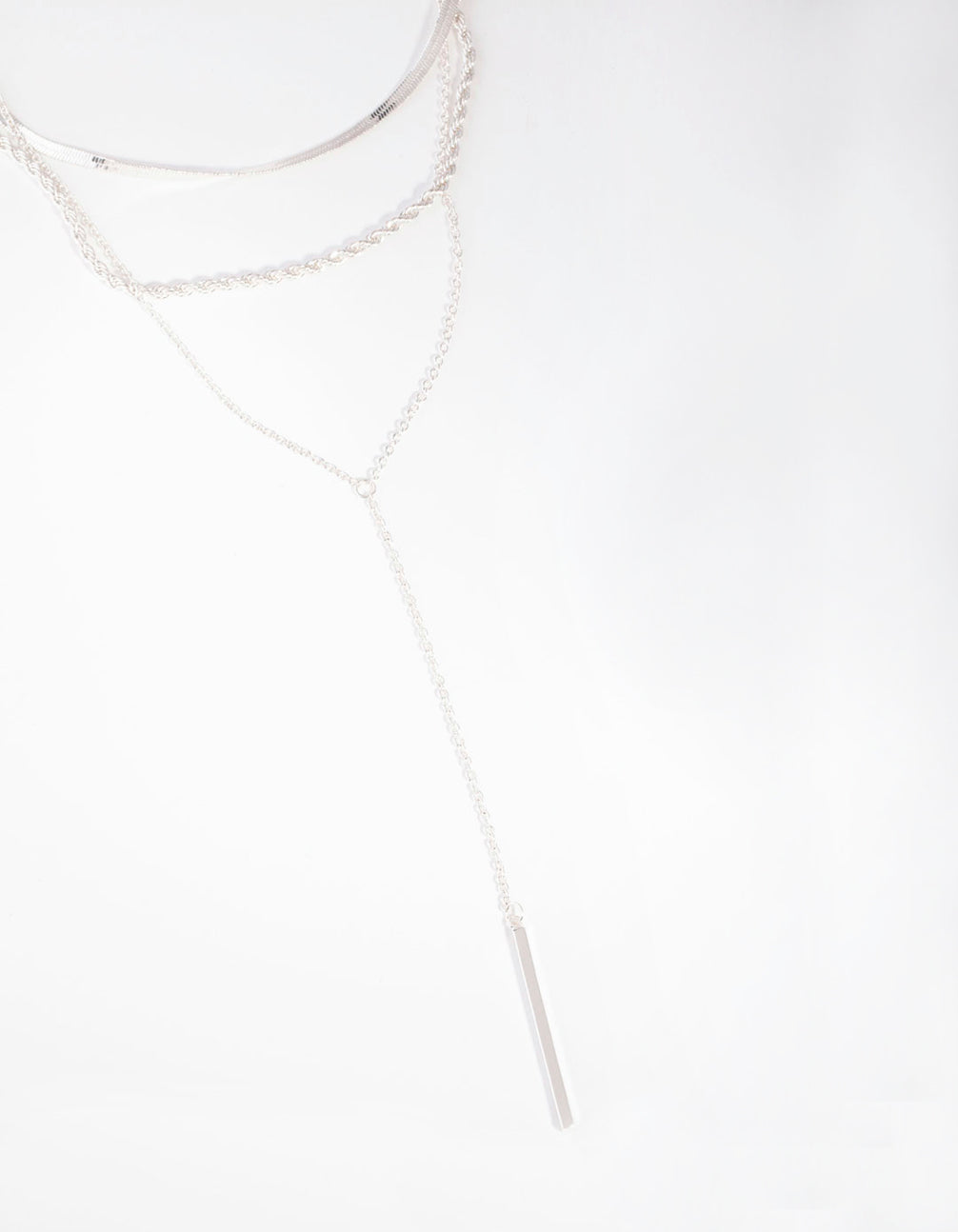 Silver Rope Snake Chain Triple Row Necklace