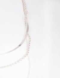 Silver Rope Snake Chain Triple Row Necklace - link has visual effect only