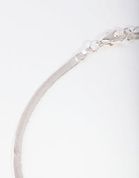 Silver Flat Snake Chain Necklace - link has visual effect only