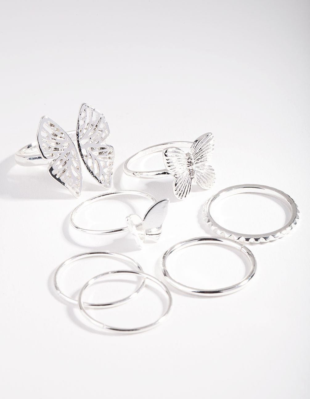 Silver Butterfly Ring 7 Pack