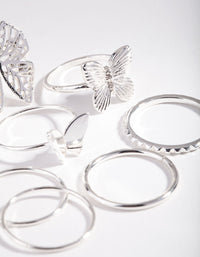 Silver Butterfly Ring 7 Pack - link has visual effect only