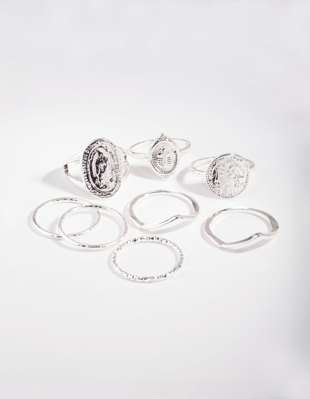 Silver Multi Coin Ring Stack