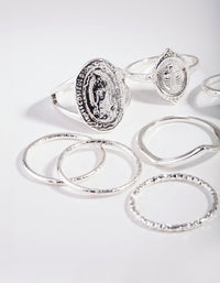 Silver Multi Coin Ring Stack - link has visual effect only
