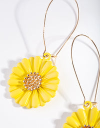 Gold Yellow Bright Daisy Earrings - link has visual effect only