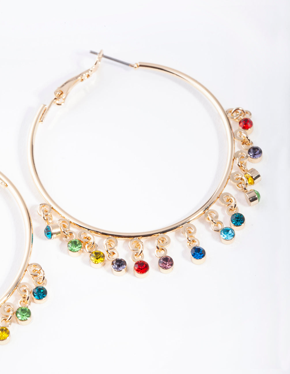 Gold Hoop Rainbow Diamante Charm Earring
