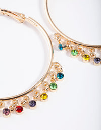 Gold Hoop Rainbow Diamante Charm Earring - link has visual effect only