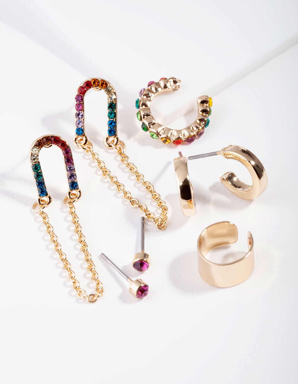 Gold Chain Link Rainbow Diamante Ear Stack