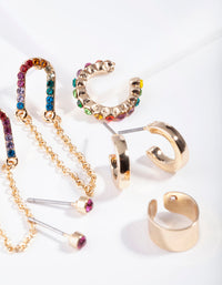 Gold Chain Link Rainbow Diamante Ear Stack - link has visual effect only