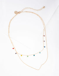 Gold Mini Rainbow Diamante Layered Necklace - link has visual effect only