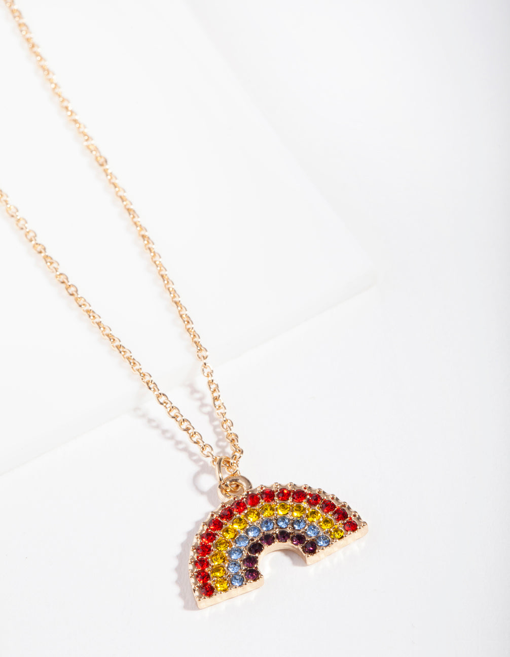 Gold Rainbow Diamante Pendant Necklace