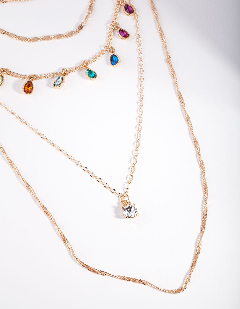 Gold Layered Rainbow Stone Necklace