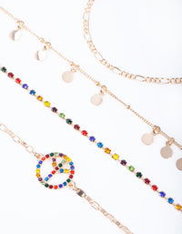 Gold Rainbow Diamante Peace Bracelet Anklet 4 Pack - link has visual effect only