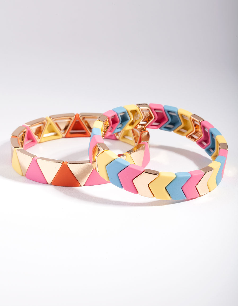 Gold Pink and Yellow Triangle Bracelet 2 Pack