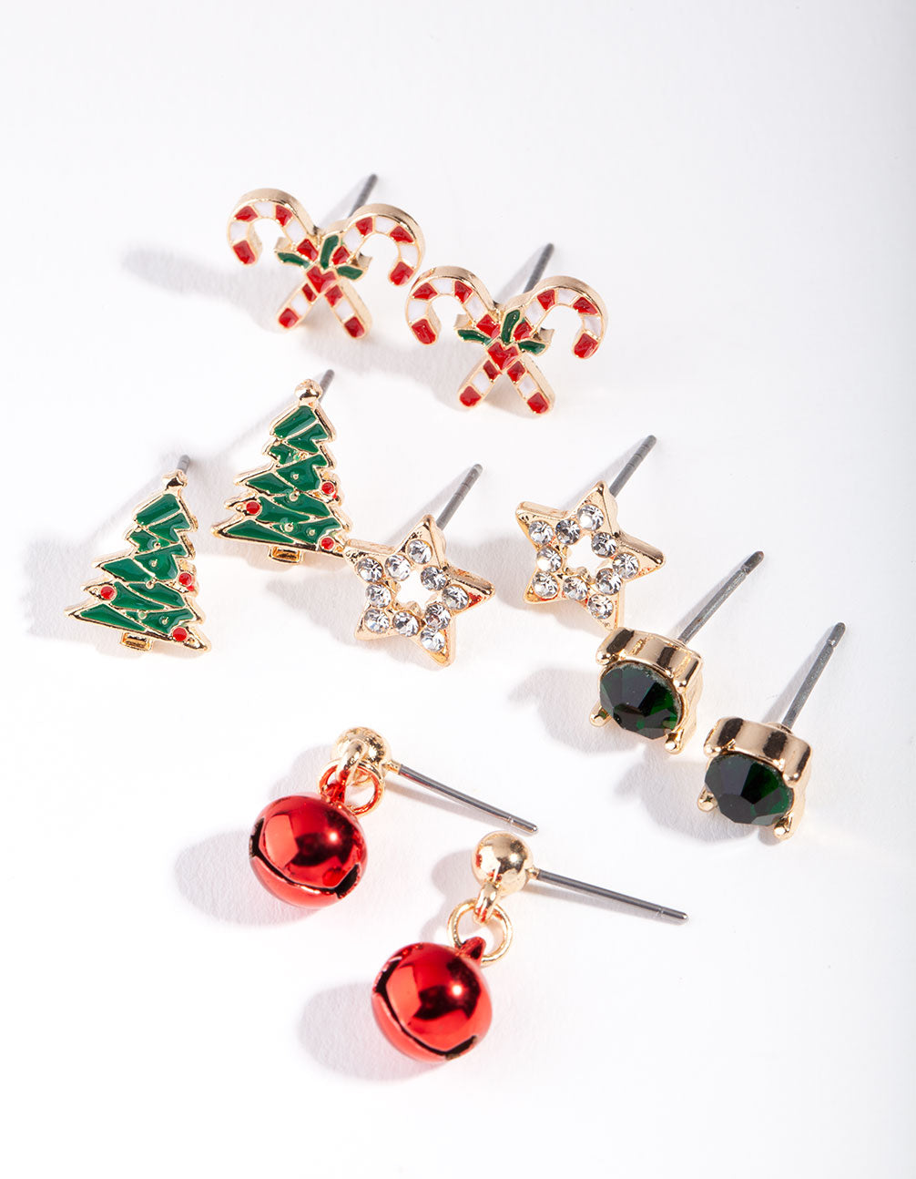 Gold Christmas Tree Stud Earring 5 Pack