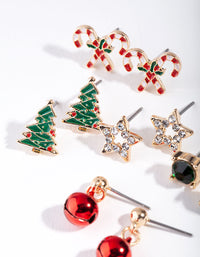Gold Christmas Tree Stud Earring 5 Pack - link has visual effect only